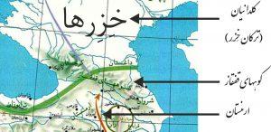 نقشه D: کوه های قفقاز، مانعی طبیعی که ابتدا از تهاجم ترکانِ خِزِر به ارمنی های آریایی جلوگیری کرد و سپس دیواری شد برای محافظتِ خزرها در برابر تهاجم اعرابِ سامی